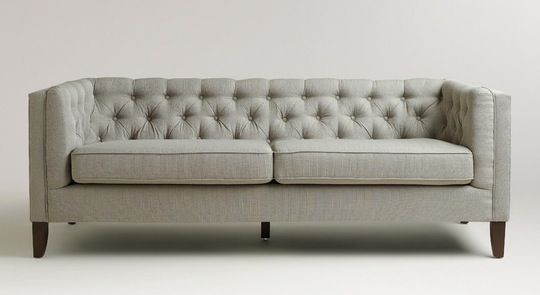 Kendall sofa $699.99 at World Market. Also comes in teal, navy & tan velvet.