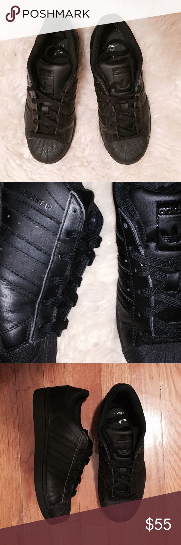 black Adidas superstars all black adidas superstars. brand new, only tried on in the house. rubber shell toe. they are a size 4 in kids, which is a size 6 in women's. adidas normally runs a size big. i am a 7.5 in women's and these fit but are too tight around the toe. i recommend them for a women's size 6-7! let me know if you have any questions. reasonable offers considered. Adidas Shoes