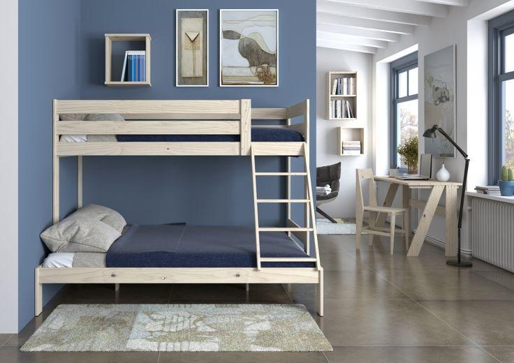 Composición litera TRIOLO, un ejemplo de convivencia. Dos camas de la misma longitud pero de diferente anchura. www.muebleslufe.com #MueblesLUFE #madera #DIY #ecologico #cama #litera