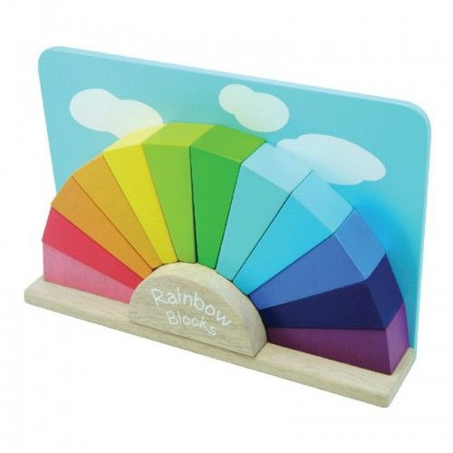 This stunning Rainbow Blocks set is a beautiful gift idea that will bring a smile to any little one's face.  Featuring bright, vibrantly coloured wooden pieces that fit together to form a radiant rainbow set against a blue sky backdrop, this set is not only great looking, but it can also assist with the development of fine motor skills and reinforce colour recognition.