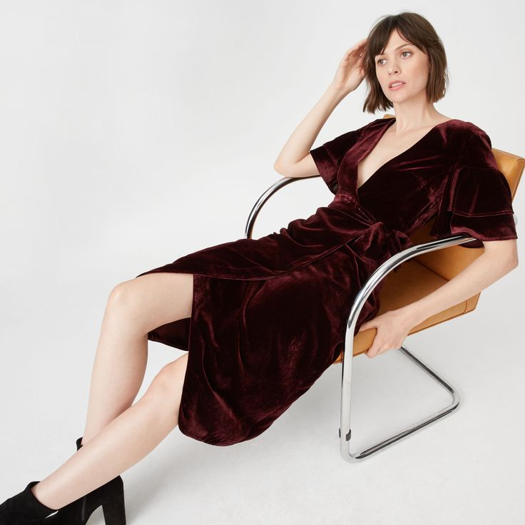 $298 Velvet Dress by Club Monaco - affiliate - Womens | Day to Night | Tay Dress - The velvet effect. In a rich jewel-toned burgundy with tiered, ruffled sleeves and an effortless wrap design. Wear it as a dress for nights out or open over jeans and a turtleneck for days off.
