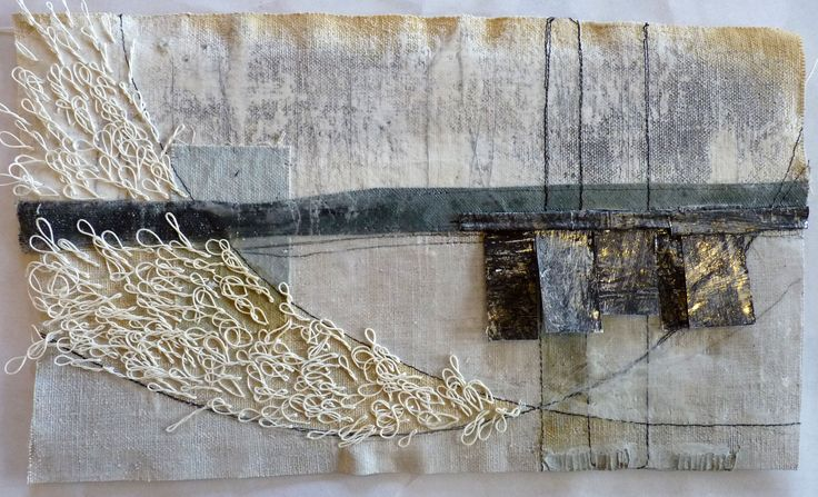 Debbie Lyddon-Large Marshscape – White Loops and Tree Vertical Lines, Cloth, Stitch, Wax