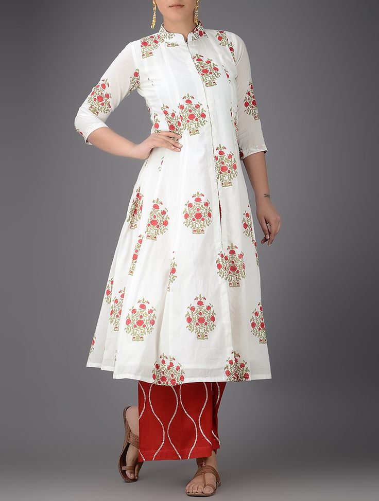Buy Ivory Red Block Printed Cotton Kurta with Elasticated Waist Gota Palazzos (Set of 2) Women Kurtas Brights Chanderi linen apparel mukaish & jewelry pearls Online at Jaypore.com