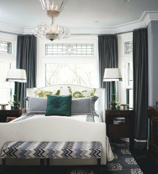 Tommy Smythe bedroom, shades of gray, white, teal.