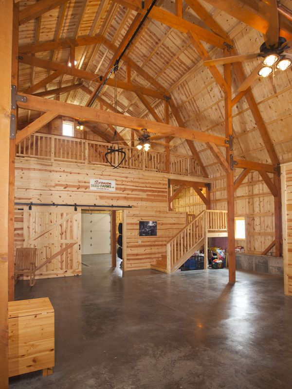 Great plains party area in gambrel barn barn homes for Shop with loft