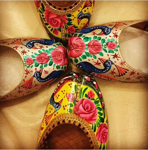 Pakistani leather, handpainted, truck art khussa.