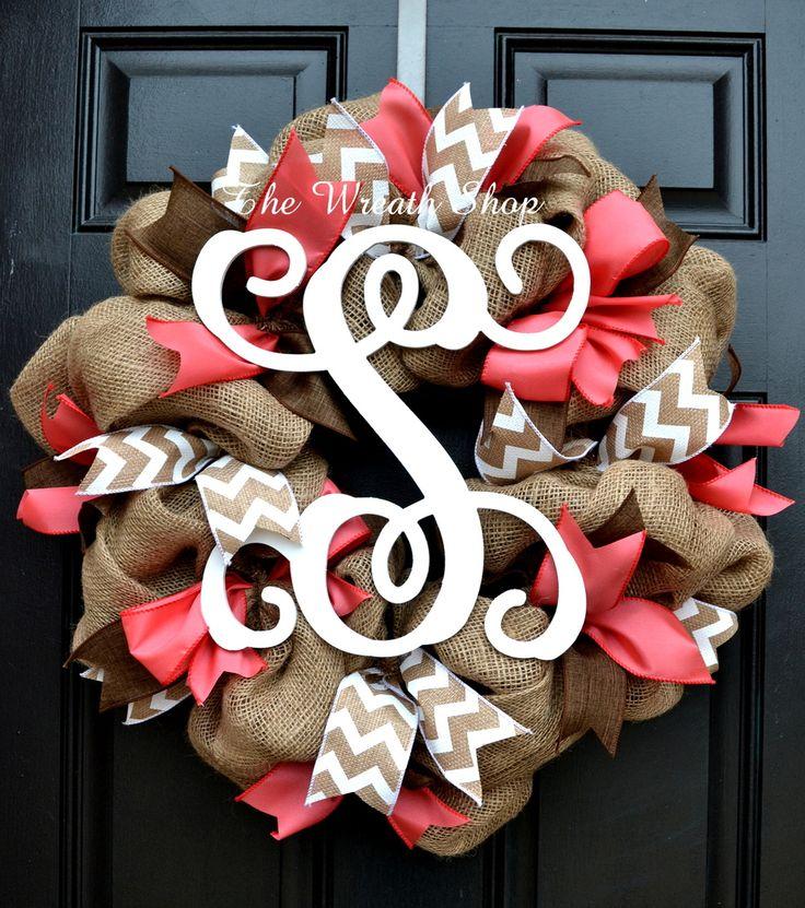 Spring Summer Burlap Vine Monogram Wreath in Coral, Brown, and White Chevron at thewreathshop.com