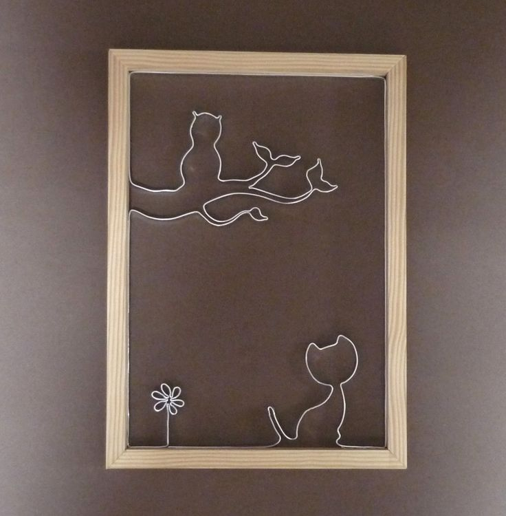 Cadre en ruban alu et bois, chat, chouette et fleur : Décorations murales par terreco