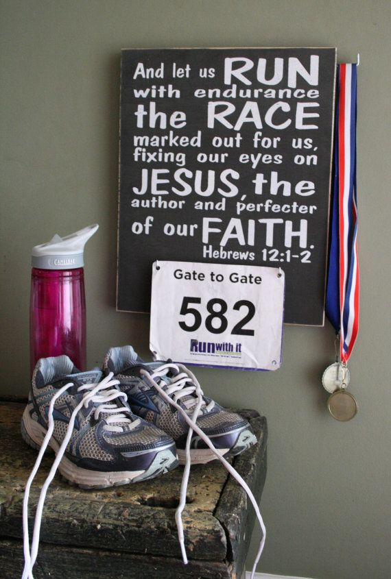 "Race Bib and Medal Holder 12"" x 15""  Hebrews 12:1-2  Race Bib Display  Buy 3 get 1 Free! on Etsy, $40.00"