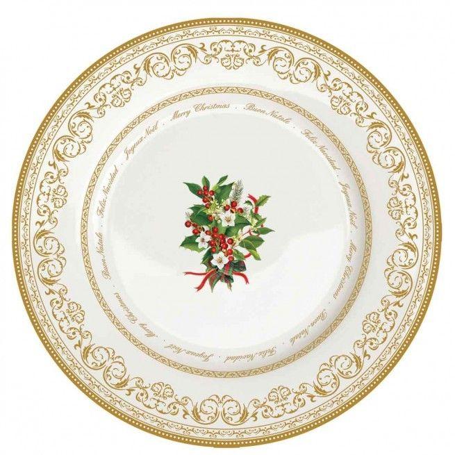 Εορταστική πρόταση για σας που τα Χριστούγεννα έχουν χρώμα. Έξι πιάτα για το γλυκά , 19 εκατοστών, από φίνα πορσελάνη, με χρυσή μπορντούρα και διακριτικό σχέδιο με γκι.