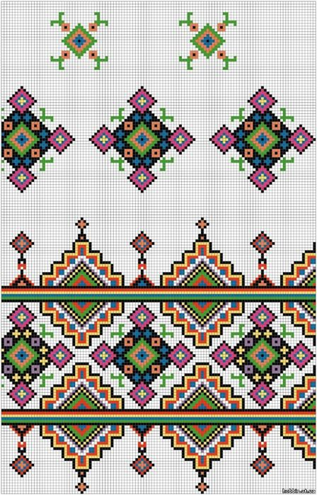 Cross-stitch Decorative Border... no color chart available, just use the pattern chart as your color guide.. or choose your own colors...   Gallery.ru / Фото #10 - орнаменты - irisha-ira