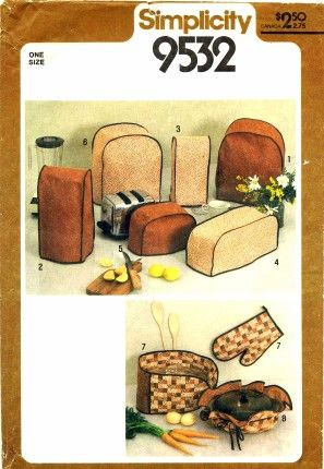 Simplicity 9532 - Envelope contains pattern pieces and instructions to make kitchen appliance covers for casserole, blender, coffee maker, mixer, toaster, food processor and pot holders.