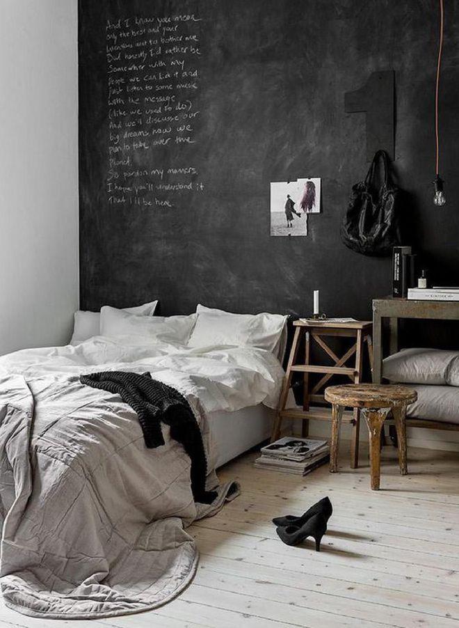 Tête de lit mur noir   Monésie   Chambre minimaliste, Deco ...