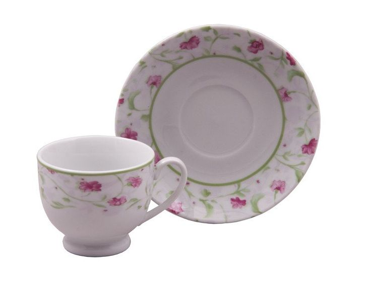 Pink Floral Case of 24 Wholesale Priced Tea Cups (Teacups) And Saucers -NEW! - Bulk Discount Inexpensive Wholesale Tea Cups (Teacups) - Roses And Teacups