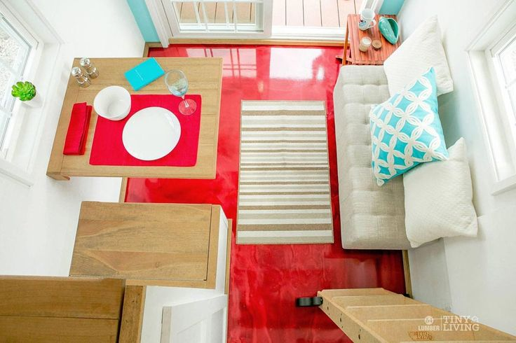 Love the floor in this tiny house! Red Epoxy Floor - Red Shonsie by 84 Lumber