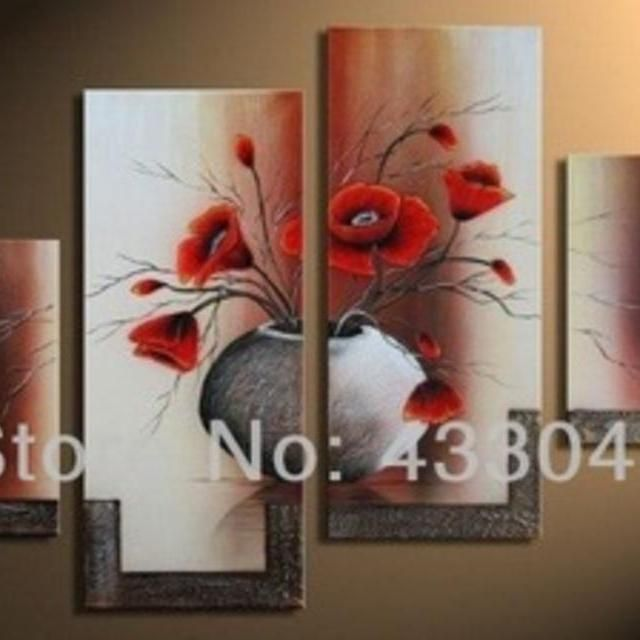 Hand painted vases decoratives red flowers wall art modern pictures 4 piece canvas art sets oil