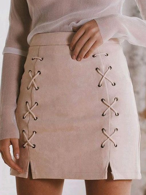 Lele's Lace Up Suede Skirt in Nude Pink