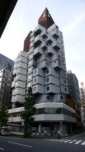 Tokyo - Nakagin Capsule Tower - Architect Kisho Kurokawa, 1972 #architecture ☮k☮#mydesignagenda #tokyodesign