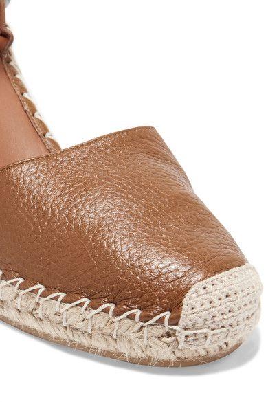 Valentino - Textured-leather Espadrille Wedge Sandals - Tan - IT