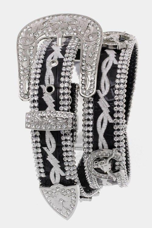 Rhinestone Barbed Wire Steer Head/Horseshoe Belt Black, $39.99 (http://www.cowgirlblingranch.com/products/rhinestone-steer-head-horseshoe-belt-black.html)
