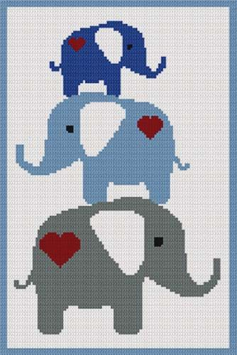 Baby+Elephants+Blue+Stacking+Afghan+Crochet+Pattern+Graph+PDF+Email