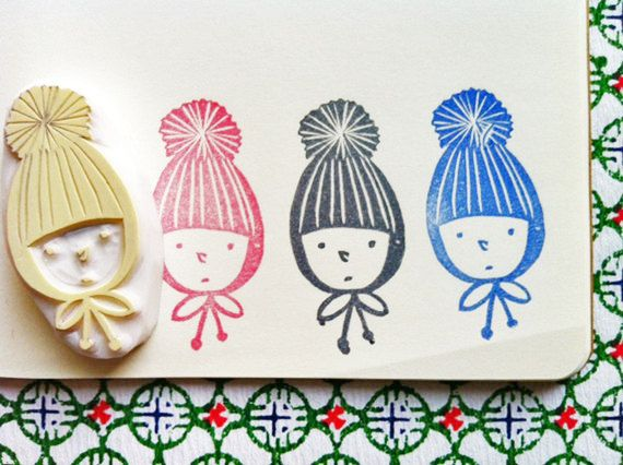 boy in a knitted hat stamp. hand carved rubber stamp. child. handmade rubber stamp.