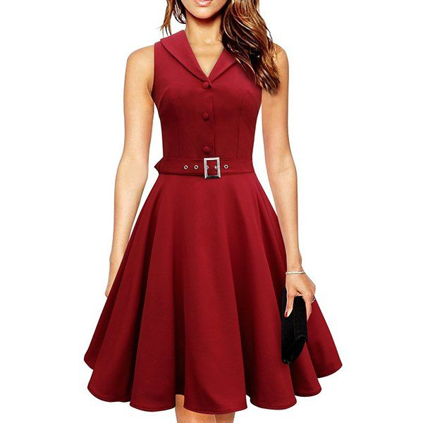 Wholesale Noble Turn-Down Collar Sleeveless Button Decorate Solid Color Women's A-Line Dress Only $14.01 Drop Shipping | TrendsGal.com