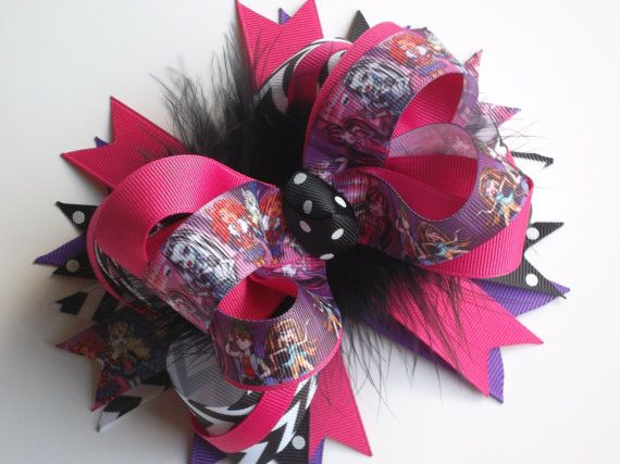 New Monster High Hair Bow for Girls Big Bows by ransomletterhandmade, $14.00