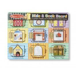 Tato napínavá dřevěná hrací deska obsahuje devět dveří. Když se dveře otevřou, odkryje se barevný magnet.