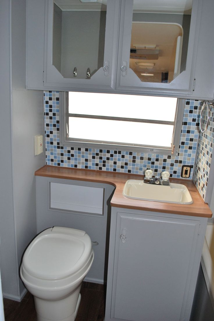 Remodeled Bathroom  Fleetwood Prowler All The Walls Were Spray Painted And A New Backsplash