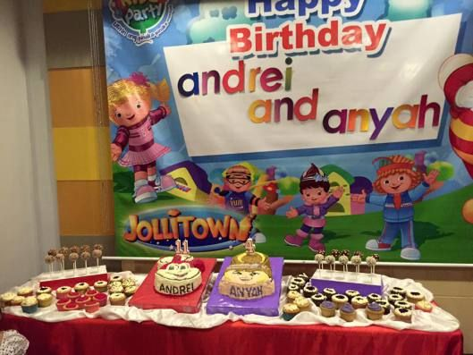 the sweet buffet during my kids' party at Jollibee Surigao