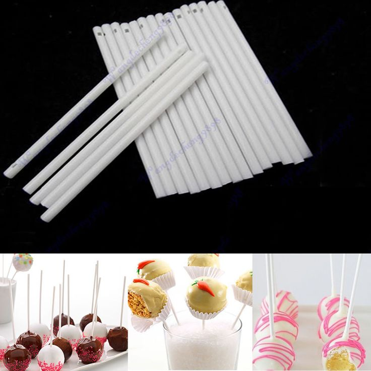 100pcs White Pop Sucker Sticks Chocolate Cake Candy Lollipop Lolly Mould Making 2.52