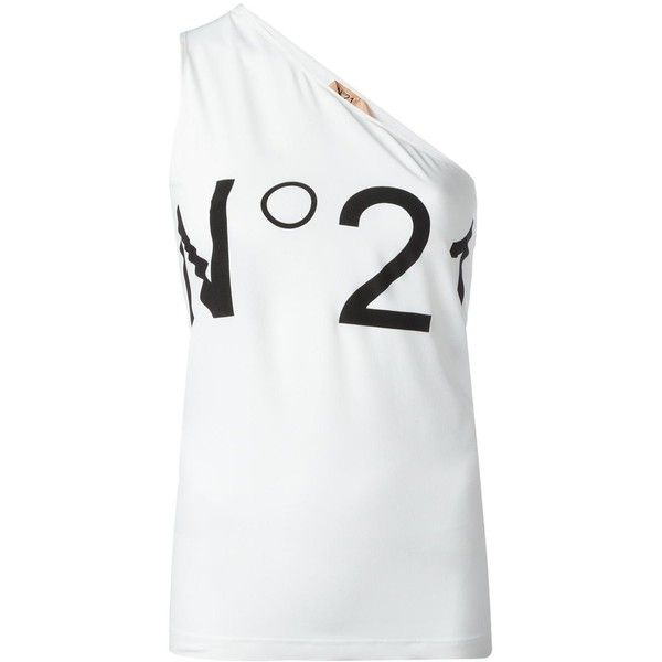 Nº21 'Monospalla N21' tank ($140) via Polyvore featuring tops, white, white tank top, white tank, white singlet and white top