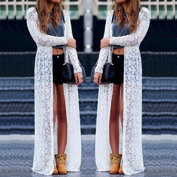 New Women Lace Hollow Sheer Long Cardigan Sun Protection Maxi Dress Coat Jacket #Unbranded #Maxi #Casual
