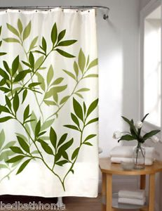 new jade green leaves fabric shower curtain