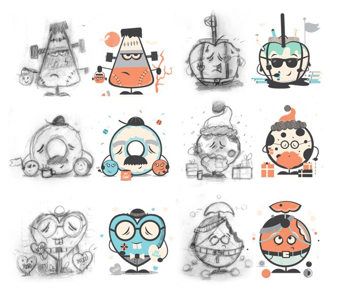 Sample on how to create cartoon character from hand drawing