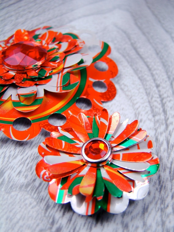 Flower Magnets Metal Drink Can Magnets Recycled by EllieMacDesigns, $6.00