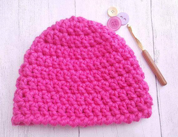 Pink crochet hat. Chunky wool. Chunky hat  warm hat. Women's hat. Men's hat. Unisex hat. Winter hat. Beanie hat