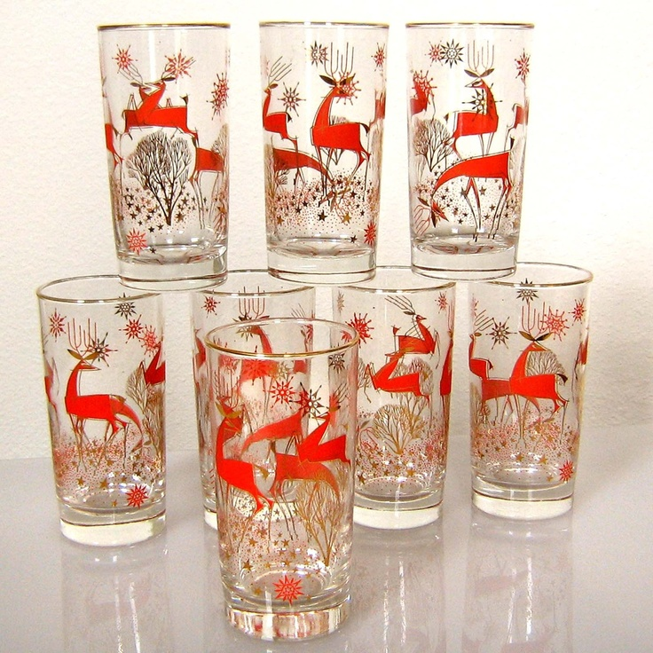 Libbey Christmas Reindeer glasses