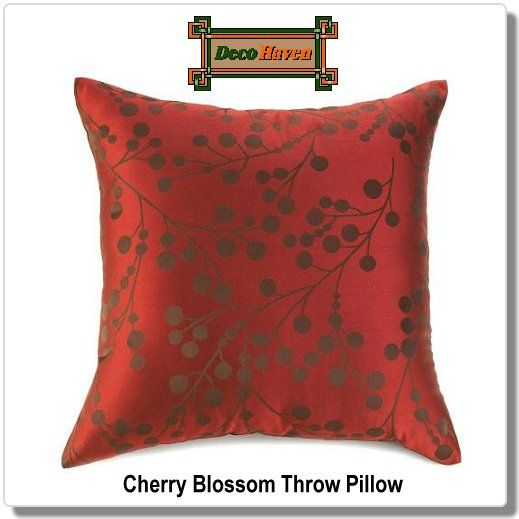 Cherry Blossom Throw Pillow - A stylized pattern of deep brown branches and blooms adorn this opulent pillow, which declares your impeccable style. With just the right touch of shimmer and shine, this statement cushion will enliven any room. Removable cover with zipper closure.  Only $34.97 plus FREE shipping!