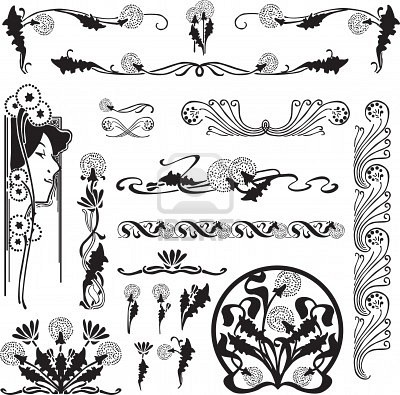 Google Image Result for http://us.123rf.com/400wm/400/400/roman4/roman41204/roman4120400009/13318649-a-set-of-patterns-of-art-nouveau-with-dandelions-for-page-design.jpg