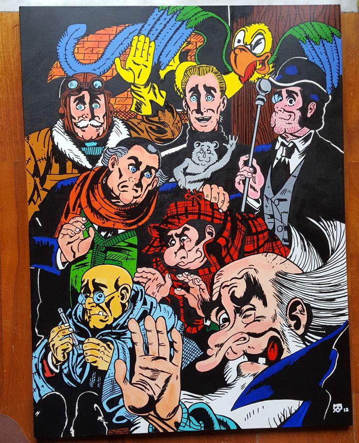 QUADRO del Gruppo TNT fumetto Alan Ford dipinto a mano