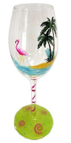 beach tropical wine glass | FLAMINGO BEACH GLASS - hand painted art on glass | Pendragonartworks ...
