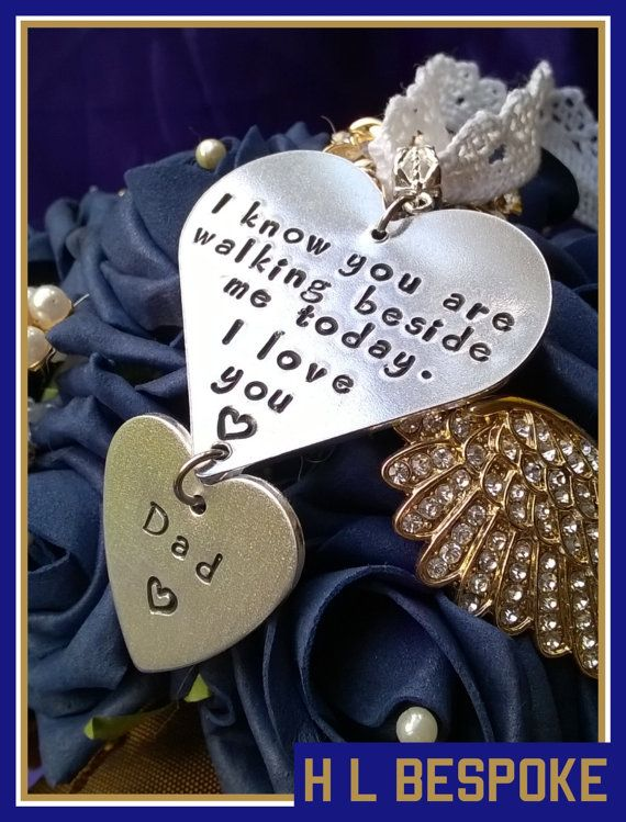 Personalised Memorial Bridal Bouquet Charm, YOU CHOOSE QUOTE & Names…
