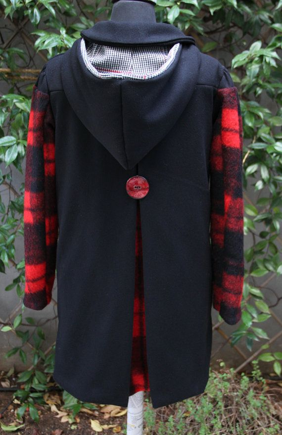 """Black wool coat with red checked sleeves and removable hood, by """"EatingTheGoober"""""""