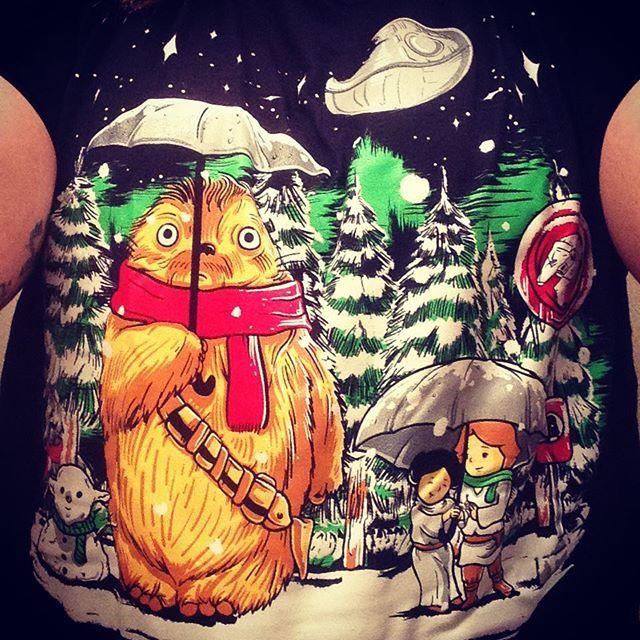 Absolutely in love with my new shirt!!!  a cross of My Neighbor Totoro and Star Wars!!!!! So adorable! Thanks 1up Box!!! #newshirt #1upbox #myneighbortotoro #starwars #crossfandoms #chewy #totoro #luke #leia #lukeandleia #darthvader #vader #nerd #nerdy #nerdygirl #starwarsfan #totorofan #happystormtrooper