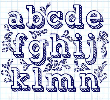Hand drawn font - small shaded letters and decorations, 29796, download royalty-free vector clipart (EPS)