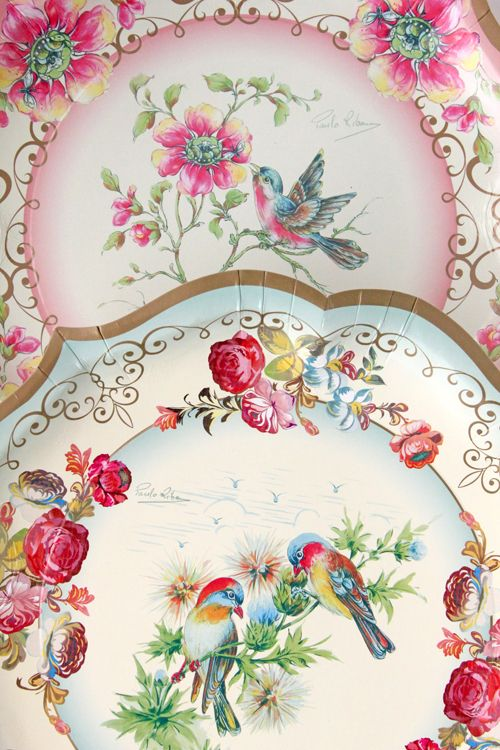 Vintage tea party platters Two birds has always been a motif I've loved...
