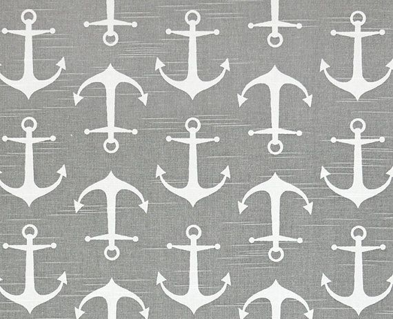 Anchor Fabric Gray Coastal Fabric by the Yard Designer Nautical Cotton Anchor Fabric Grey Anchors Home Decor Fabric S128