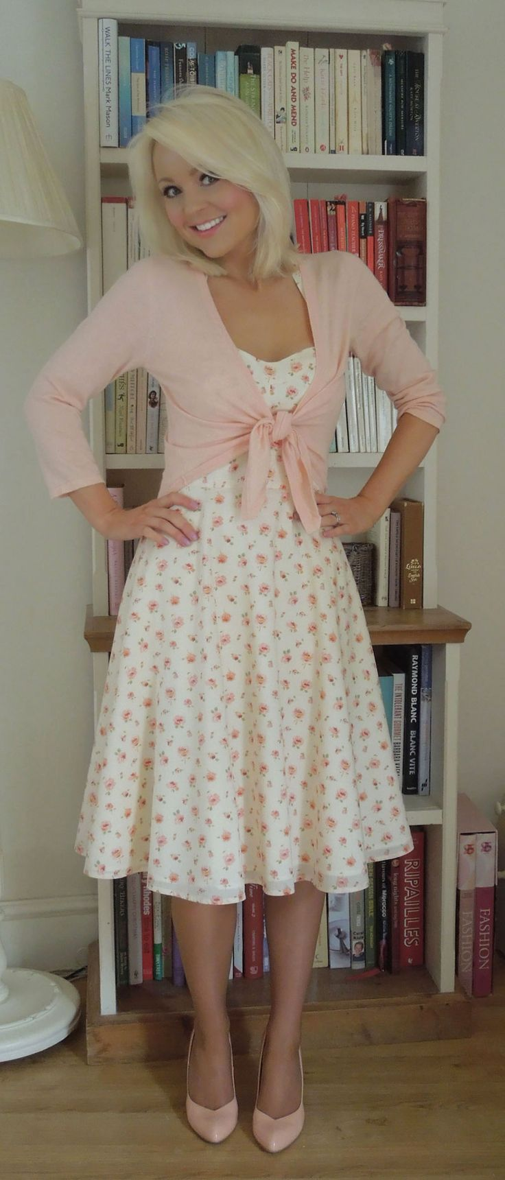 I really love this, BUT the dress is way too low, and also I would rather the cardigan have buttons instead of tying it.  And with those easy changes, I would look so super sweet and a classy vintage look! :)